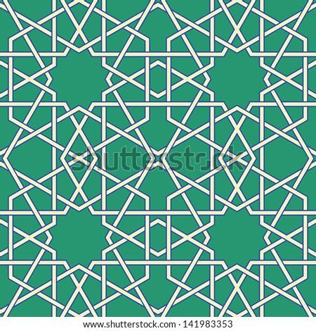 Green Arabic Byzantine seamless pattern vector illustration - stock vector