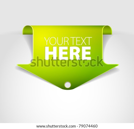 Green arrow bookmark - arrow pointing at the content - stock vector