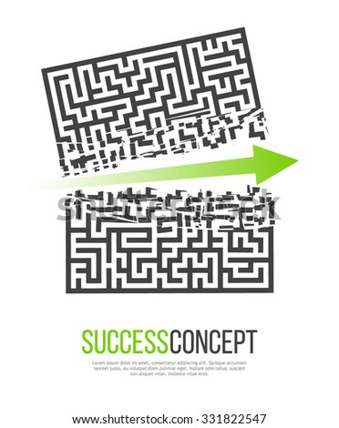 Green Arrow Crashes Through the Walls of a Maze to Freedom. Business Solution / Success Concept. Vector Illustration. - stock vector