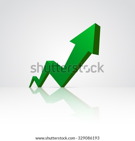 Green arrow pointing up. - stock vector