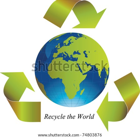 Green arrows around the world indicating recycling - stock vector