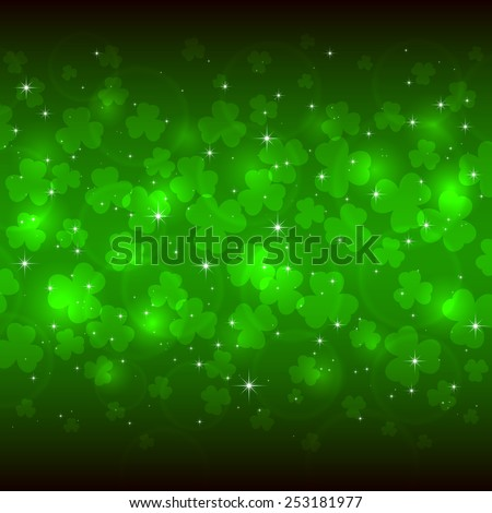 Green background of St. Patricks Day with clover, illustration  - stock vector