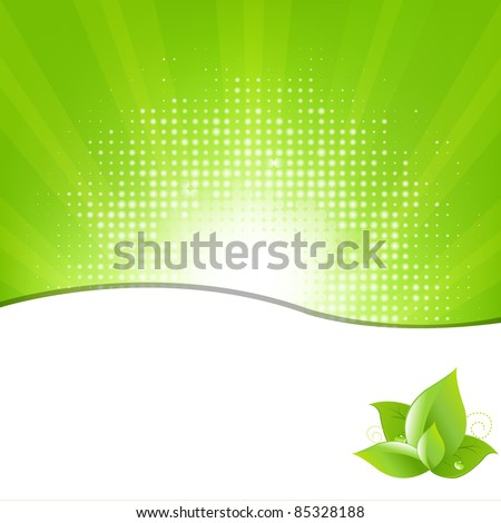 Green Background With Beams And Leaves, Vector Illustration - stock vector