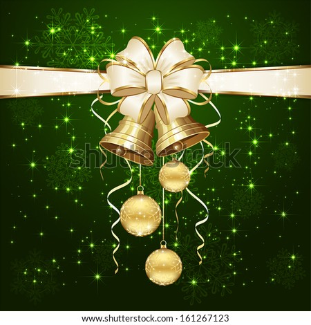 Green background with Christmas balls and golden bells, illustration. - stock vector