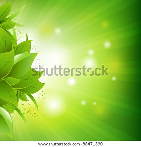 Green Background With Leafs And Grass, Vector Illustration - stock vector