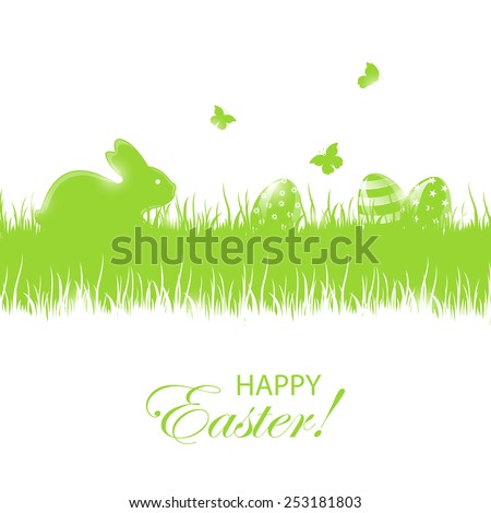 Green background with little rabbit and Easter eggs in a grass, illustration. - stock vector