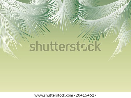 green background with silvery palm leaves and space for text - stock vector
