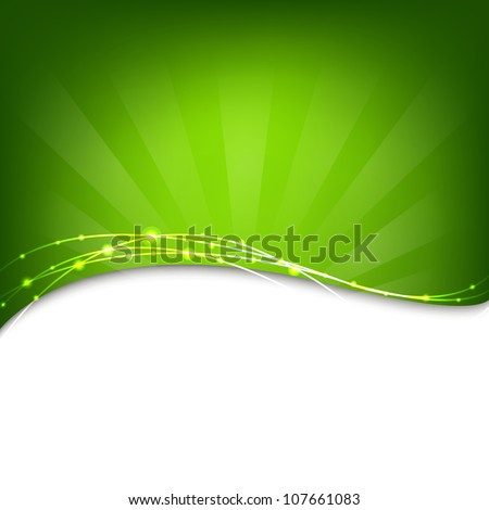 Green Background With Sunburst, Vector Illustration - stock vector