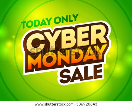 Green background with text for cyber monday. Vector illustrations. Cyber Monday banner design - stock vector