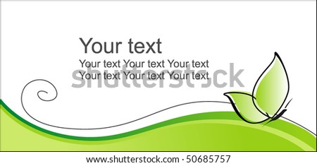 Green background with the butterfly - stock vector