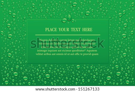 green background with water drops  - stock vector