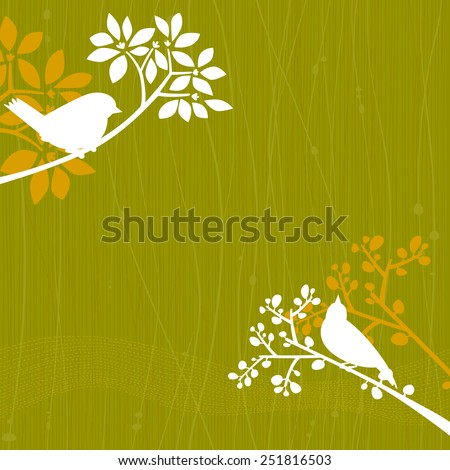 Green background with white silhouettes of a couple of birds perching in some tree branches. Space for copy/text. Layered vector file, for easy manipulation. - stock vector