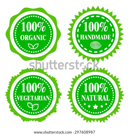 Green badges, stickers, logo, stamp. Hundred percent organic, vegetarian, natural and handmade. Modern bright flat design. - stock vector