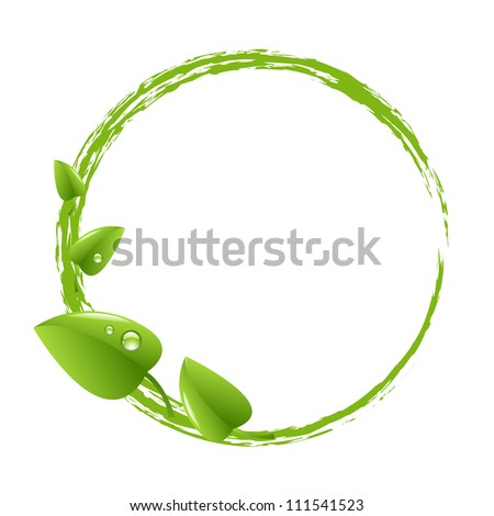 Green Ball And Green Leafs, Isolated On White Background, Vector Illustration - stock vector