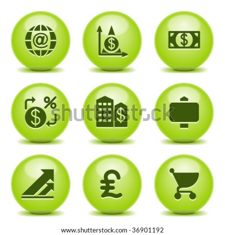 Green ball with icon 23 - stock vector