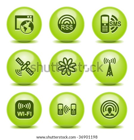 Green ball with icon 30 - stock vector