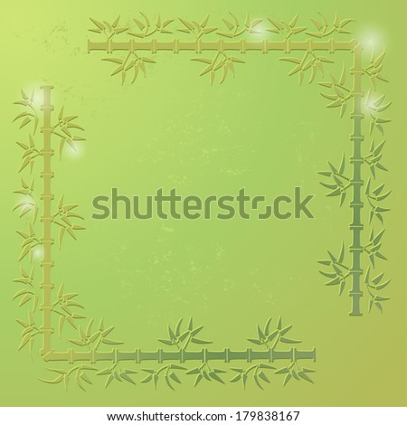 Green bamboo vector frame.  All objects are conveniently grouped on different layers and are easily editable - stock vector