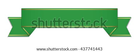 green banner ribbon - stock vector