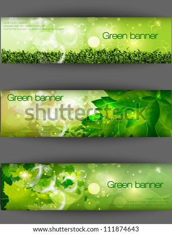 green banner with grass and leaves - stock vector