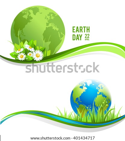 Green banners with globe for design banner,ticket, leaflet and so on.Template page for Earth day. Holiday banners - stock vector