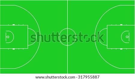 Green Basketball Court - stock vector