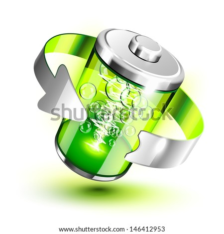 Green battery full level indicator icon - stock vector