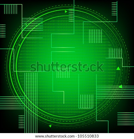 Green Binary Technology. Jpeg Version Also Available In Gallery. - stock vector