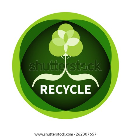 Green biodegradable product label. - stock vector