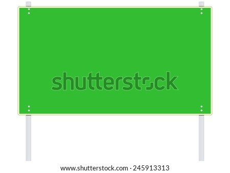 Green blank road sign. Place for any text. Vector. - stock vector
