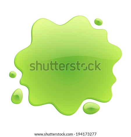 Green blotch isolated on white background. Paint or juice spot. - stock vector