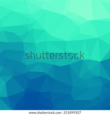 Green-blue abstract square geometric background consisting of colored triangles. - stock vector