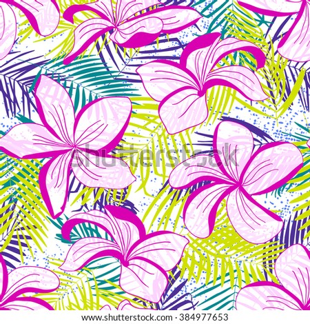 Green, blue, emerald tropical palm trees and pink flowers on white. Abstract background seamless pattern. - stock vector