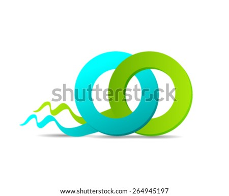 Green/Blue Rings Design Element - stock vector
