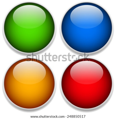 Green, blue, yellow and red glossy spheres with frames - stock vector