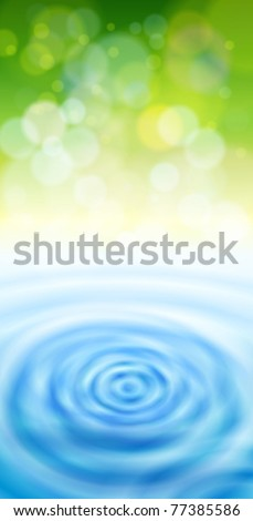 green bokeh & blue water waves - ecology background - stock vector