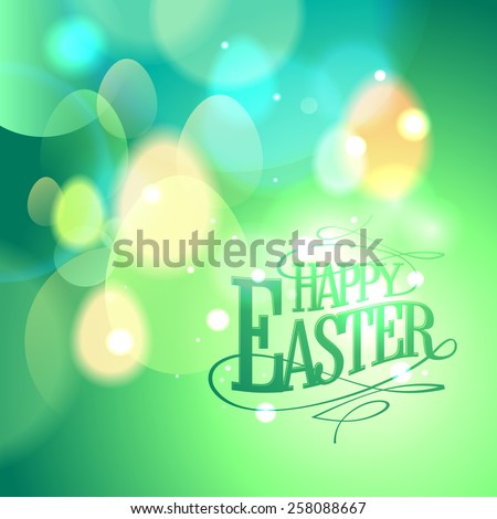 Green bokeh card for Easter holiday. - stock vector