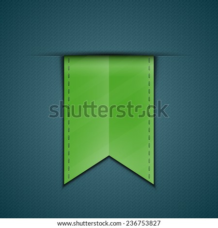 Green bookmark decoration ribbon on blue fabric background. Stitched silky ribbon. Vector illustration - stock vector