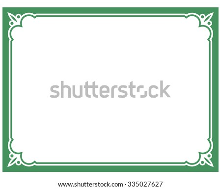 Green border frame deco vector art simple line corner - stock vector