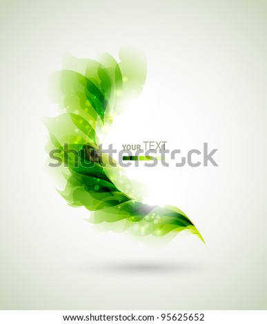 green branch with abstract leaves - stock vector