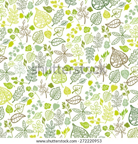 Green branches,leaves  pattern,ornament background.Isolated leaf silhouette.Outline Vector illustration.Stylized spring,summer decor,backdrop,fabric,wallpaper - stock vector