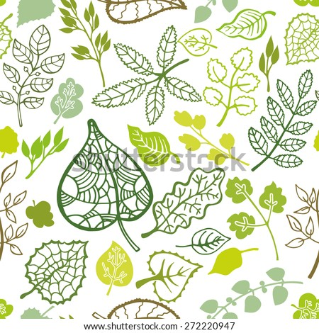 Green branches,leaves seamless pattern,ornament.Isolated leaf silhouette.Outline Vector illustration.Stylized spring,summer decor,background,backdrop,fabric,wallpaper - stock vector