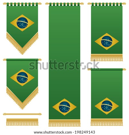 green brazil wall hangings with gold tassel fringing, isolated on white - stock vector