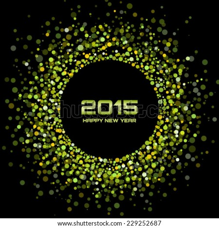 Green Bright New Year 2015 Background, vector illustration - stock vector