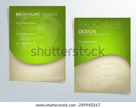 Green brochure template vector background flyer design with green concept elements eco idea and sample text for text and message brochure artwork design in A4 size - stock vector