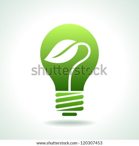 Green Bulb with leaf inside on white background. - stock vector