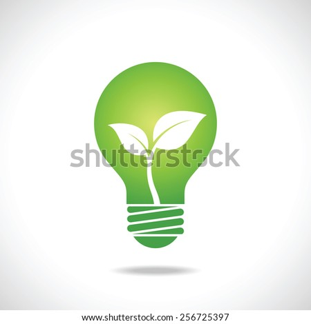 Green Bulb with leaves inside on white background. Eco concept. - stock vector