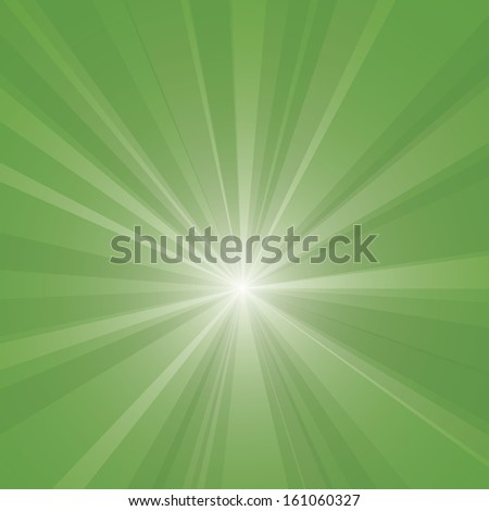 Green burst vector background. - stock vector
