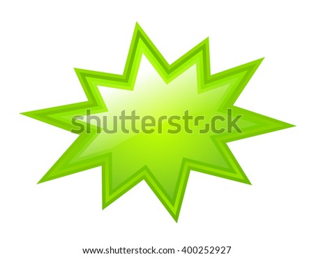 Green bursting star, vector illustration isolated on white background - stock vector