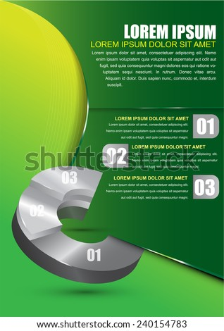Green business background for brochure or poster with a circular graph and three choice - stock vector