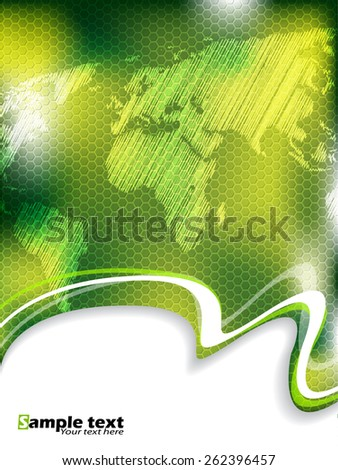 Green business brochure design with hexagon pattern and scribbled world map - stock vector